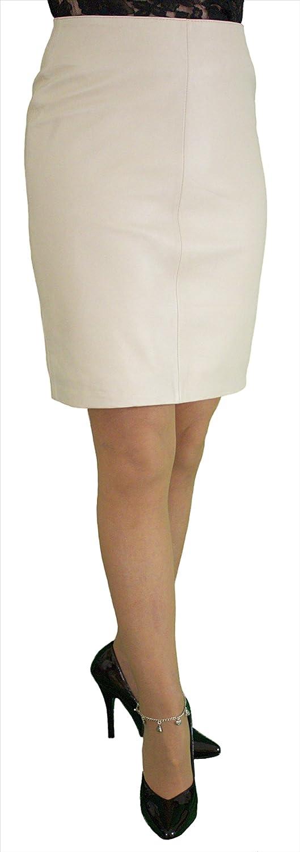 Ashwood Real Genuine Leather Pencil Skirt, Above Knee Length Beige Cream