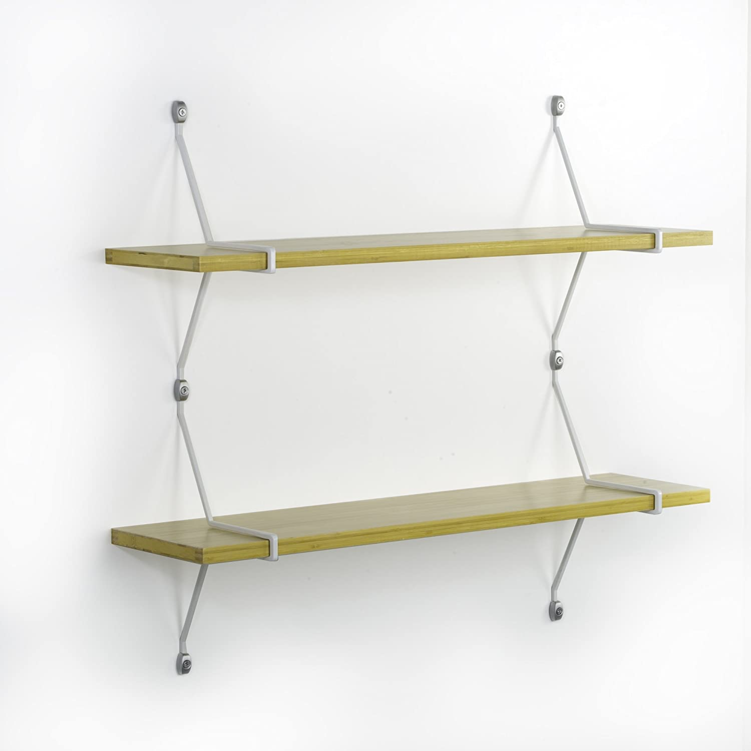 Assa Design Decorative Shelf Kit Set of Two Wall Mounted Bamboo Shelves with Diagonal Mounting Brackets