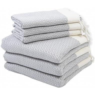 LaModaHome (Set of 6) Premium Turkish Cotton Peshtemals - 3 Bath & 3 Hand Face Dish Towels Soft, Quick Dry, Highly Absorbent, 6 Gray