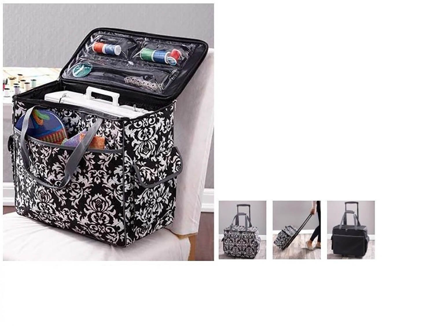 Sewing Accessories Rolling Sewing Machine Tote with 6 Storage Pockets - Damask,LARGE by Fox Valley Traders