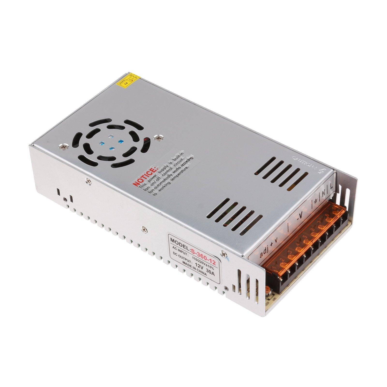 Lemonbest 12V 360W 30A Power Supply Transformer for LED Strips Lighting LED billboards LED display, AC 100V - 220V to DC 12V (30A)