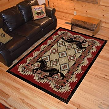 5 \'x 3 x 7\' 3 Noir Rouge marron Western Cheval Zone Tapis rectangle ...