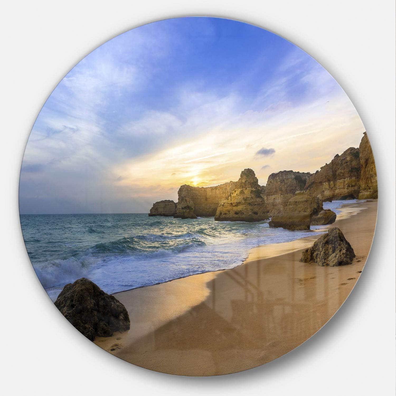Amazon Com Designart Beautiful Sunset Over Algarve Portugal Seashore Round Wall Art Disc Of 38 38x38 Disc Of 38 Inch Blue Home Kitchen