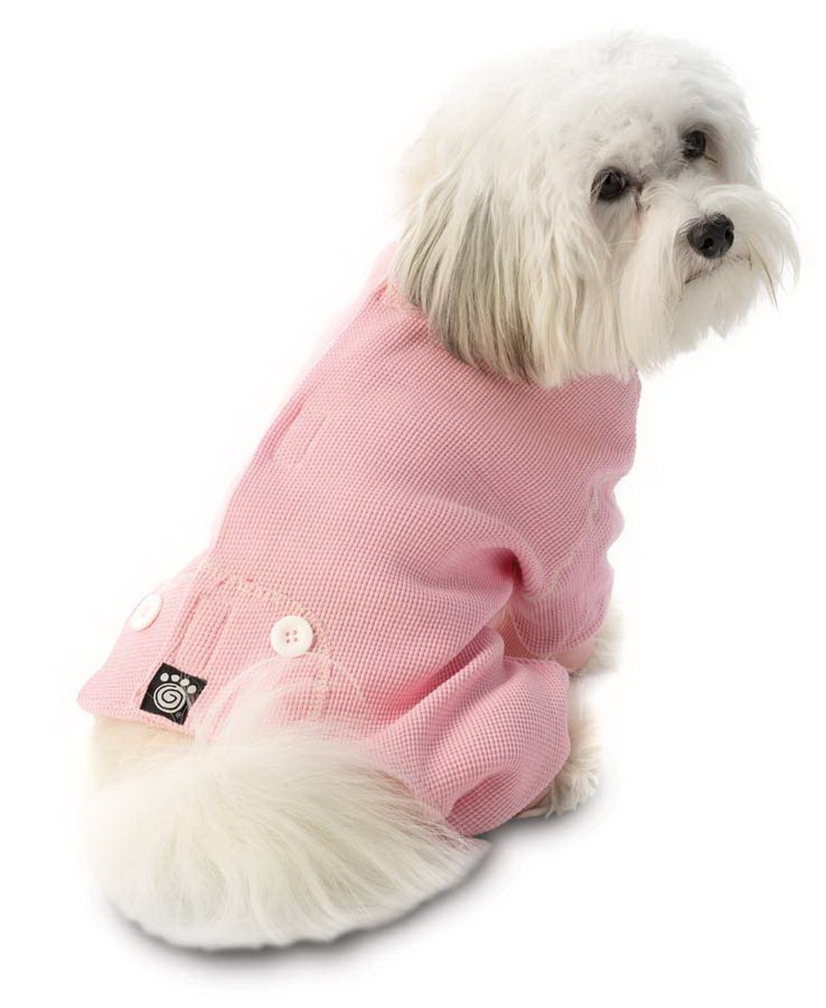 Petrageous Designs Cozy Thermal Pajamas for Pets, Medium, Pink with White Stitching 205PMD
