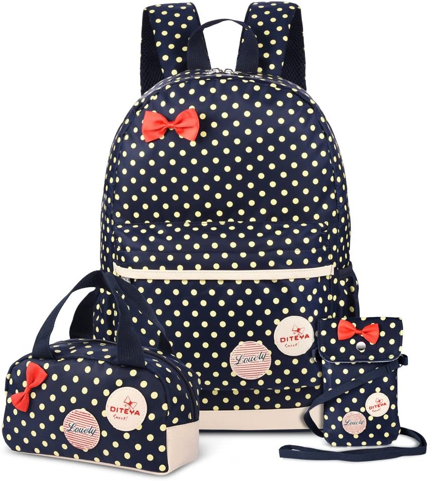 Vbiger 3 in 1 School Bag Waterproof Nylon Shoulder Daypack Polka Dot Bookbags Backpacks Cell Phone Messenger Bags Pencil Case (Dark Blue)