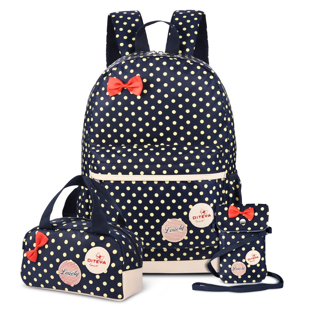 Vbiger 3 in 1 School Bag Waterproof Nylon Shoulder Daypack Polka Dot Bookbags Backpacks Cell Phone Messenger Bags Pencil Case Dark Blue
