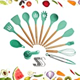 Utensils Set for Cooking with Silicone Head, Wood Handle and Wooden Container (23 Pieces + Bonus Hanging Hooks) - Kitchen Ute
