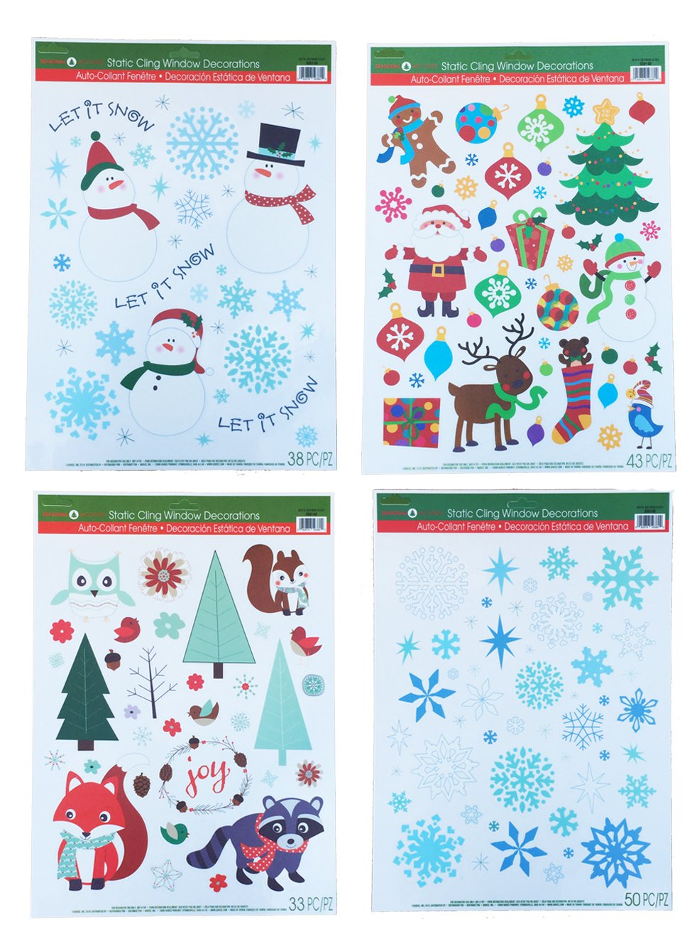 Christmas Static Window Cling Decorations - 4 Large Sheet Sets Featuring Santa, Snowmen, Snowflakes, Gingerbread Men, Reindeer and More Holiday Designs