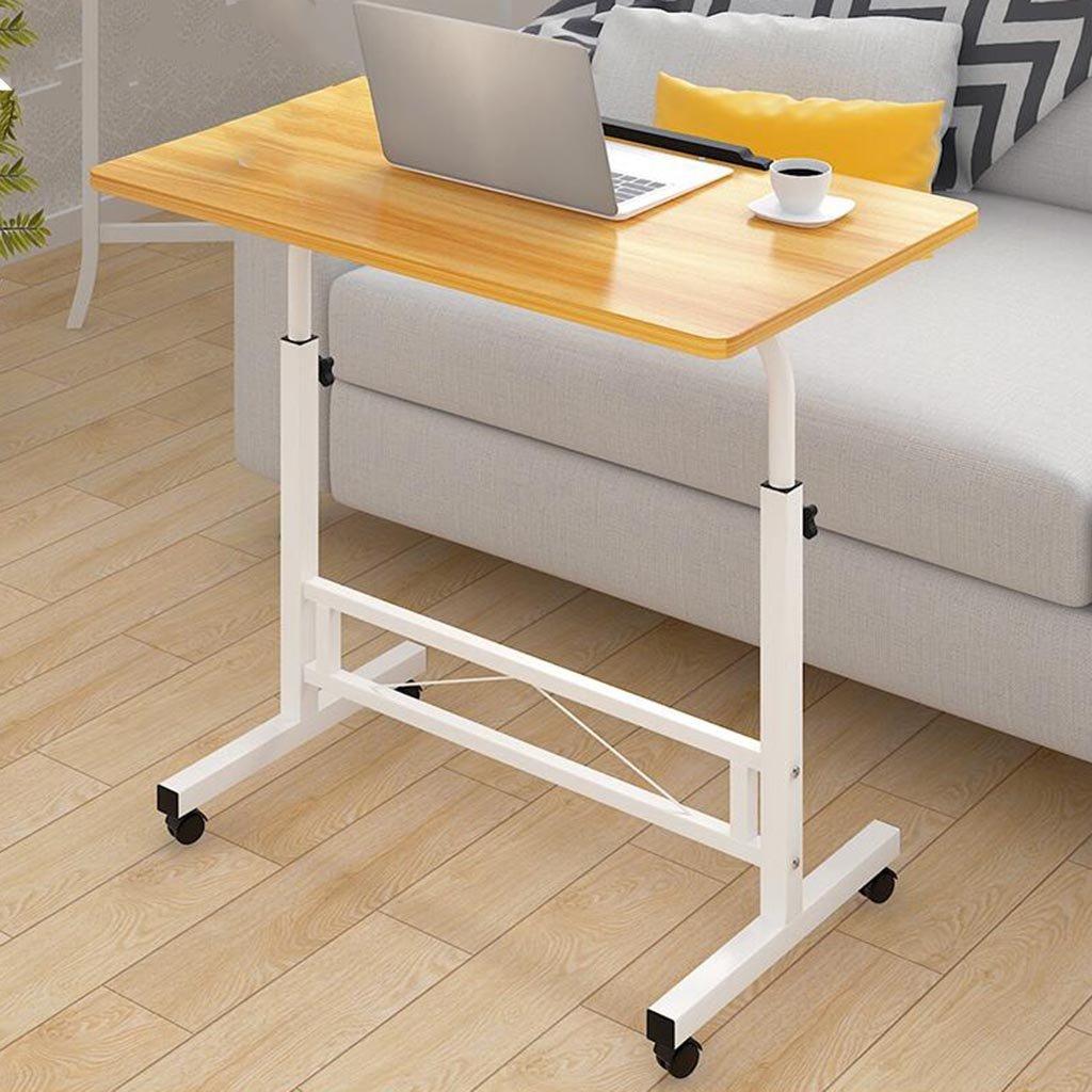 XW 折りたたみテーブル デスクトップデスクの家庭の単純な車輪付きのモバイルコンピュータのデスク調節可能な高さの怠惰なテーブル (色 : Wood color B) B07F5XX4SBWood color B