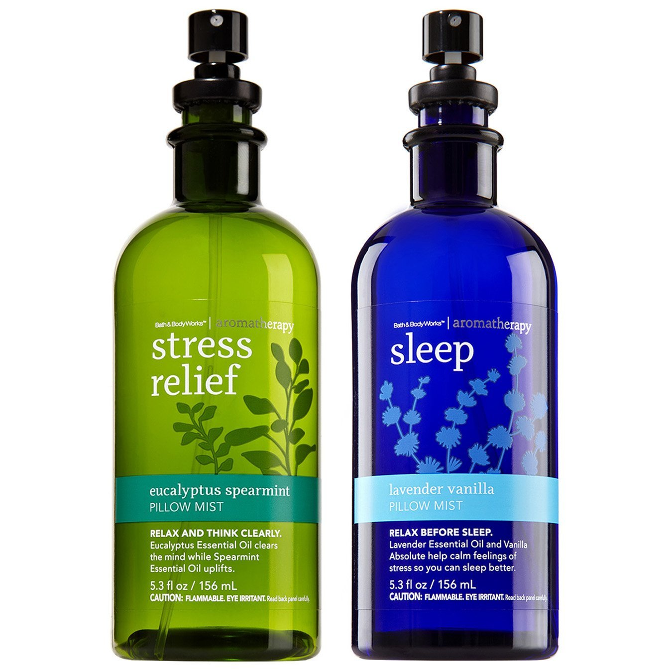 Bath and Body Works Aromatherapy Eucalyptus Spearmint and Lavender Vanilla Pillow Mist Set 5.3 Ounce Original Packaging