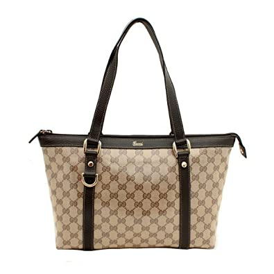 35cb42d6907 Gucci 268640 Crystal Abbey Tote Beige Brown Logo Zipper Tote Bag Handbag   Amazon.co.uk  Shoes   Bags