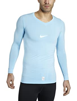 a37577a4 Nike Men's Pro Fit Dry Long Sleeve V-Neck Top - Blue, Large: Amazon ...