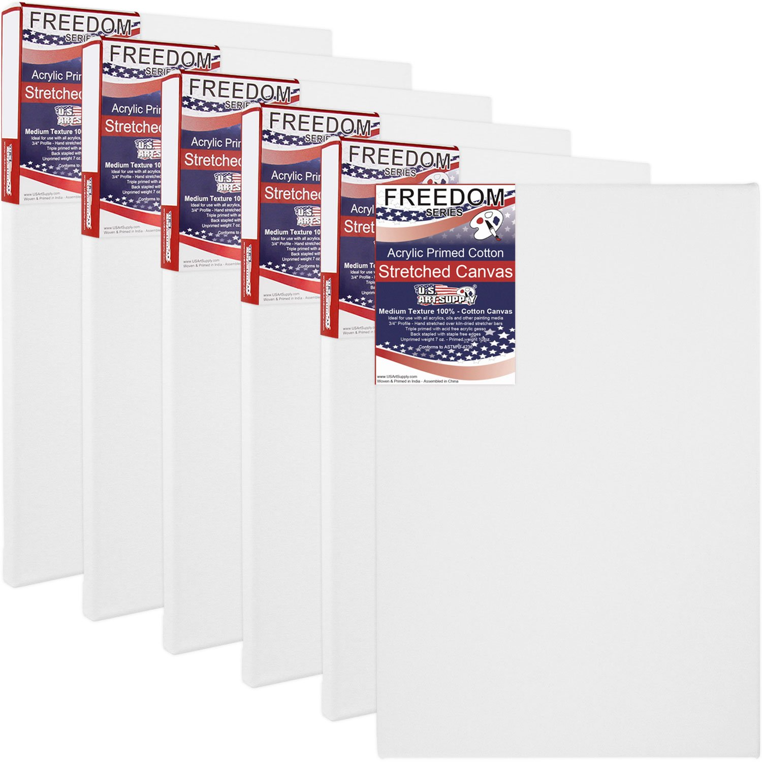 US Art Supply 20 X 24 inch Professional Quality Acid Free Stretched Canvas 6-Pack - 3/4 Profile 12 Ounce Primed Gesso - (1 Full Case of 6 Single Canvases)