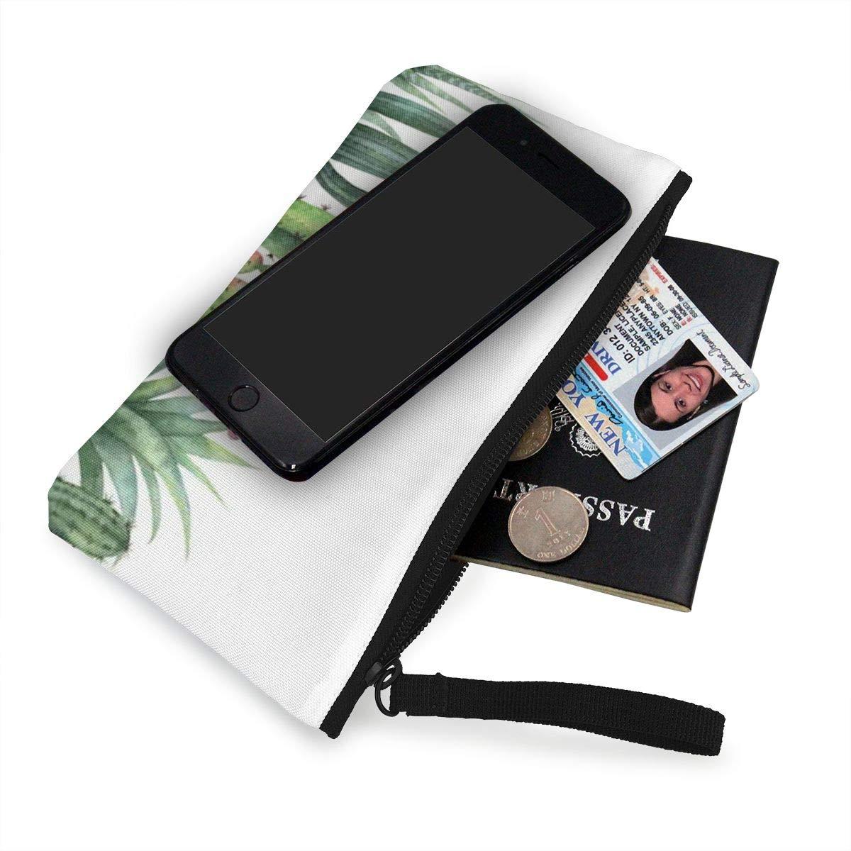 Canvas Cash Coin Purse,Cactus Flower Print Make Up Bag Zipper Small Purse Wallets