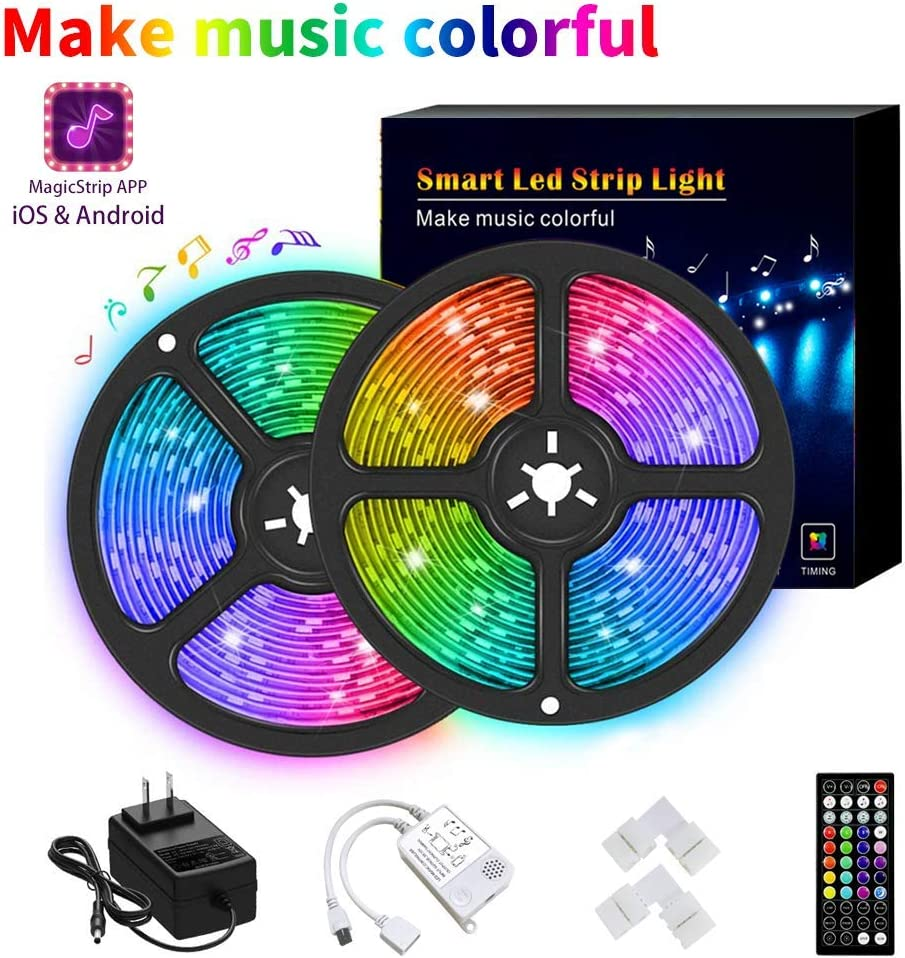 LED Strip Lights 32.8ft Led Lights Smart Color Changing Rope Lights 32.8ft/10M SMD 5050 RGB Light Strips with Bluetooth Controller Sync to Music Apply for TV Bedroom and Home Decoration