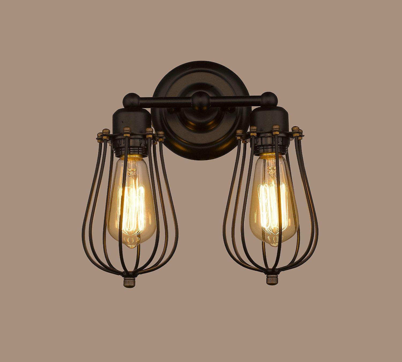 Industrialケージ壁取り付け用燭台、motentレトロヴィンテージワイヤケージメタル壁ランプシェード壁ライト器具のパティオ工場通路 – 4.3インチDia MOTENT Lighting10032 B077Q9MTST 2 Packs of 2-light - Height: 22cm / 8.6 Inches