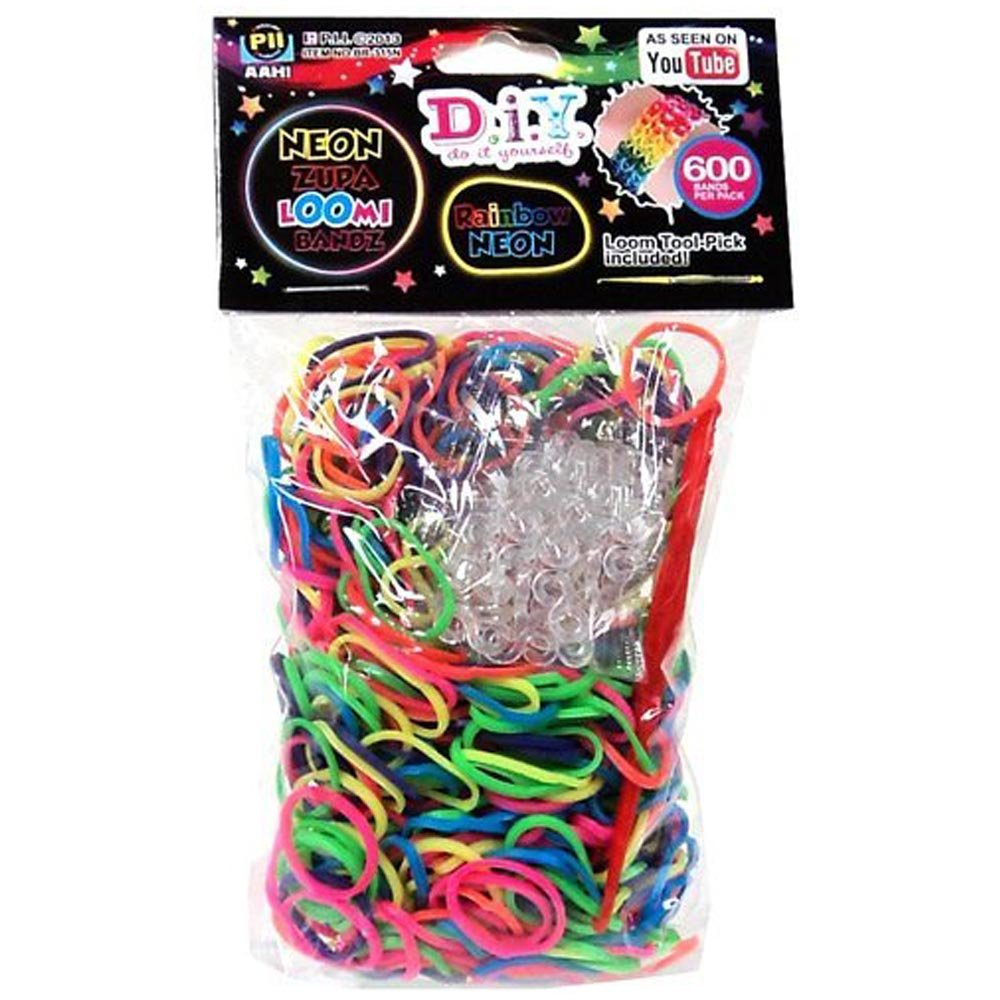 D.I.Y. Do it Yourself Bracelet Zupa Loomi Bandz 600 Neon Rainbow Rubber Bands with 'S' Clips ToyCenter