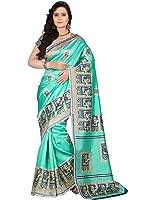 e-VASTRAM Women's Art Mysore Printed Silk(NS3B_Green)