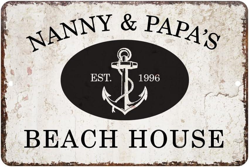Pattern Pop Personalized Vintage Distressed Look Beach House Metal Room Sign
