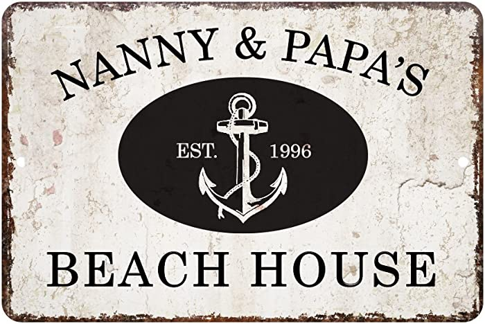 Pattern Pop Personalized Vintage Distressed Look Beach House Metal Room Sign