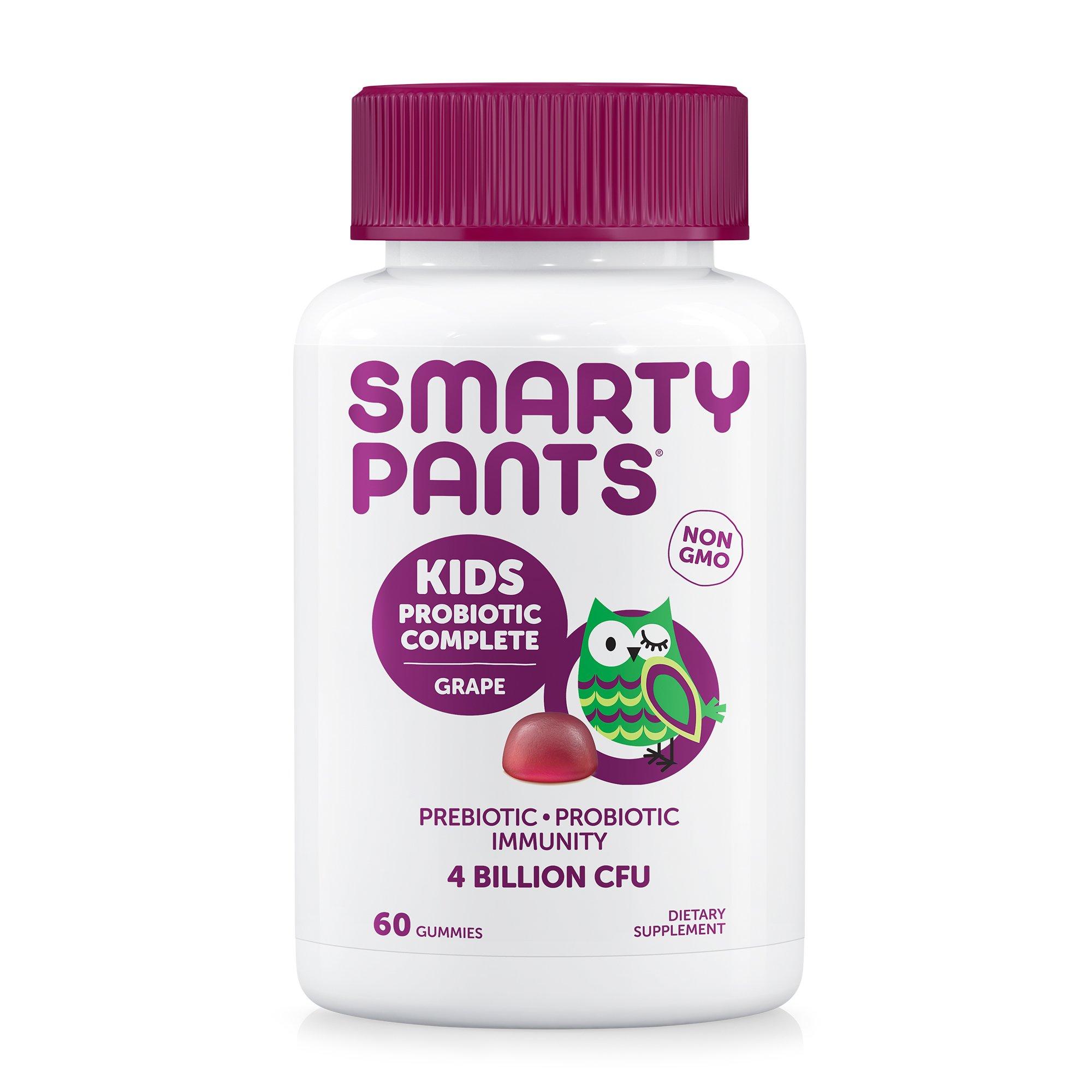 SmartyPants Kids Probiotic Complete; Probiotics & Prebiotics; Digestive & Immune Support* Gummies; 4 billion CFU, VEGAN, NON-GMO, NO REFRIGERATION REQUIRED, Grape Flavor, 60 Count, 30 Day Supply