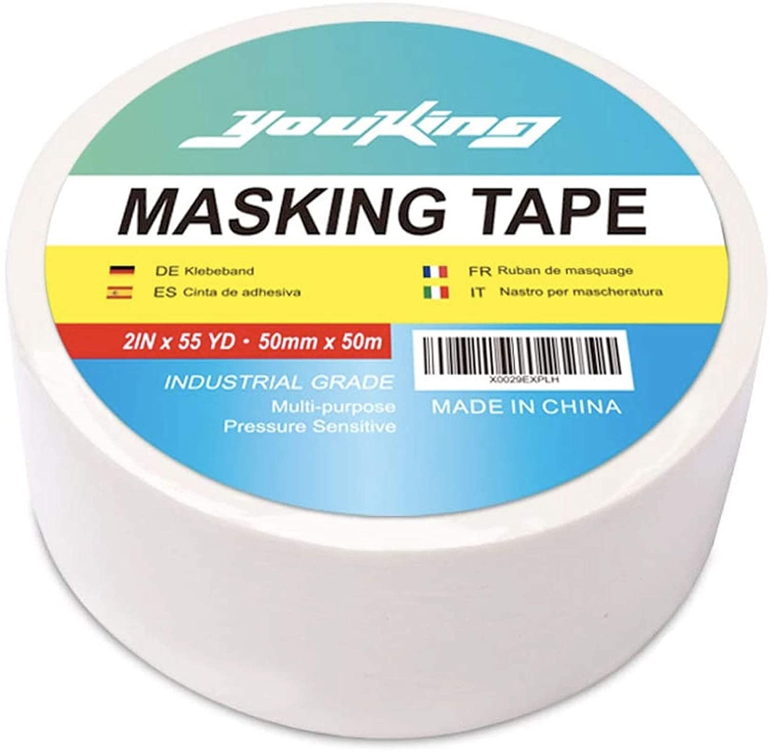 YOUKING Professional Masking Tape 1roll 2 x 55yard Multi-Use 2In X 55Yard Best for Home and Office Easy Tear Painter/'s Tape