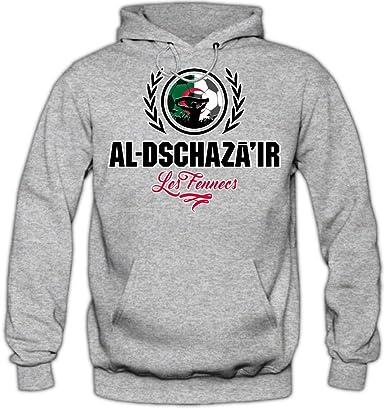 Shirt Happenz Fútbol Argelia V2 Sudadera con Capucha | Hombre | Fútbol | Equipo Nacional | Selección Nacional | Al-Dschazair | Les Fennecs | Hoody: Amazon.es: Ropa y accesorios