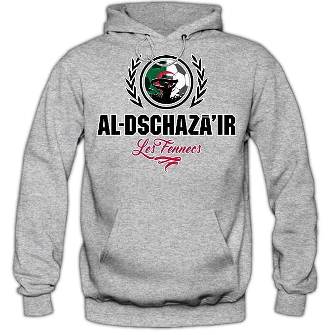 Shirt Happenz Fútbol Argelia V2 Sudadera con Capucha | Hombre | Fútbol | Equipo Nacional | Selección Nacional | Al-Dschazair | Les Fennecs | Hoody: ...