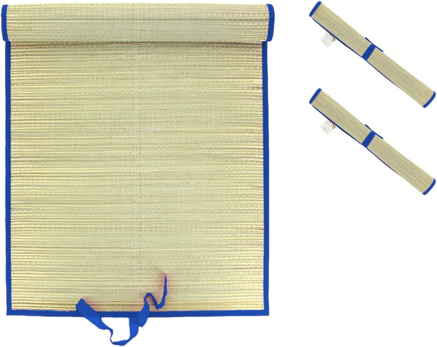 Mojawo Juego de 2XL–Manta de Playa Playa (Rafia Alfombrilla Paja Picnic Matte–Manta Playa Tumbona Azul L180X b60cm
