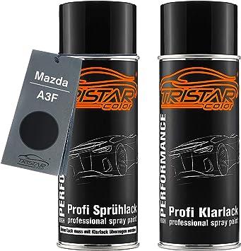 Tristarcolor Autolack Spraydosen Set Für Mazda A3f Brillant Black Brillantschwarz Basislack Klarlack Sprühdose 400ml Auto