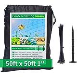 "Garden Netting 50 X 50 ft Bird Net 1"" Square Mesh Size - Protect Fruit Tree, Plant and Vegetables Against Birds, Deer…"