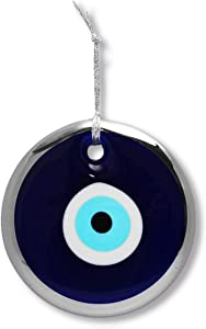 Glass Blue Evil Eye Turkish Nazar Wall Art Home Blessing Wall Decor Amulet, 5 Inches Silver Border
