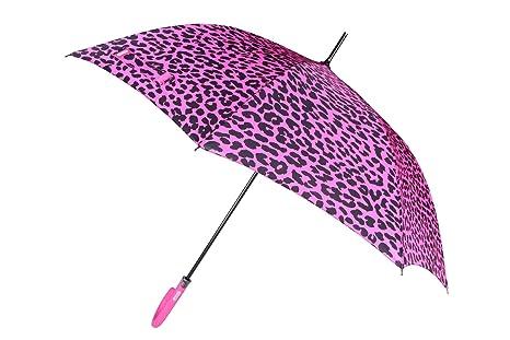 PARACHASE Paraguas Stick semiautomático de leopardo de las mujeres, rosa (b) (Rosa