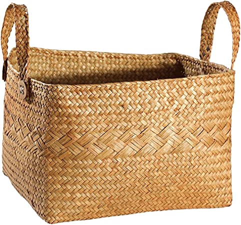 Paja de la cesta del almacenaje, jardín de la armadura, japonés cesta del almacenaje, aperitivos, artículos diversos, ropa de baño, carrito, Rattan (Color : Natural , tamaño : 28cm*23cm*15cm) : Amazon.es: Hogar