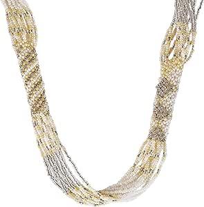 قلادة طويلة مصنوعة يدويا من الخرز الافريقي بلون ابيض مع ذهبي
