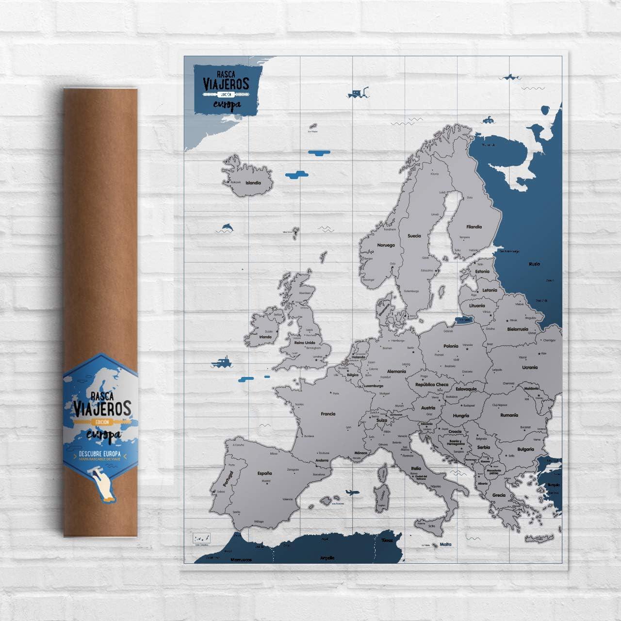 Mapa rascable Europa (transparente): Amazon.es: Oficina y papelería