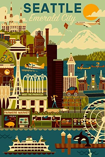 Amazon.com: Seattle, Washington - Geometric (9x12 Art Print, Wall ...