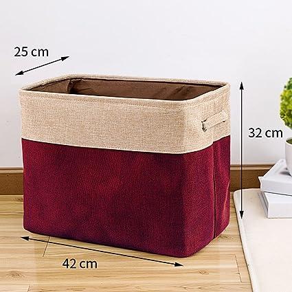 ERRU- Caja de almacenamiento pequeña Tela de algodón y lino Arte Guardarropa Ropa Juguete Costura