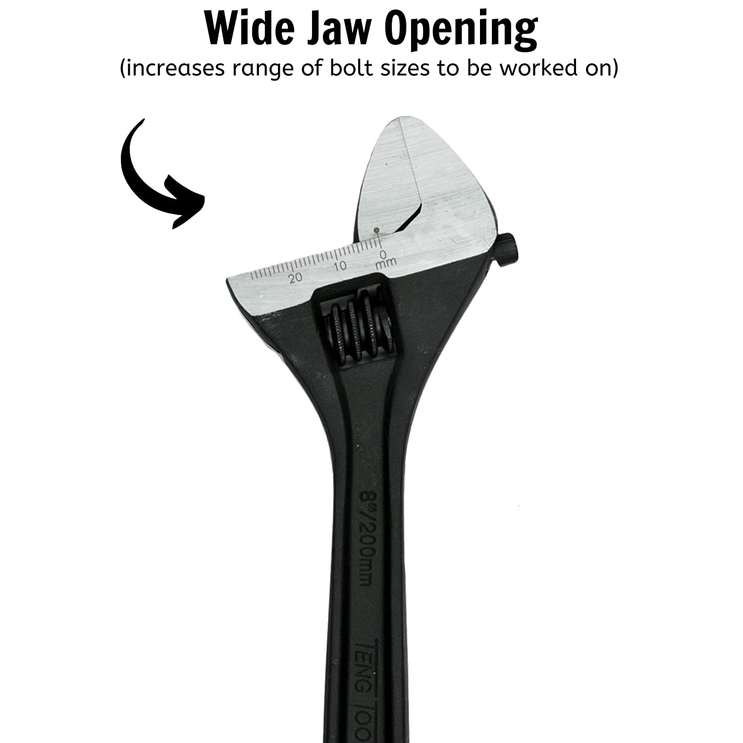"""200MM QTY 1 TENG TOOL 4003 ADJUSTABLE WRENCHES RANGE 8/"""""""