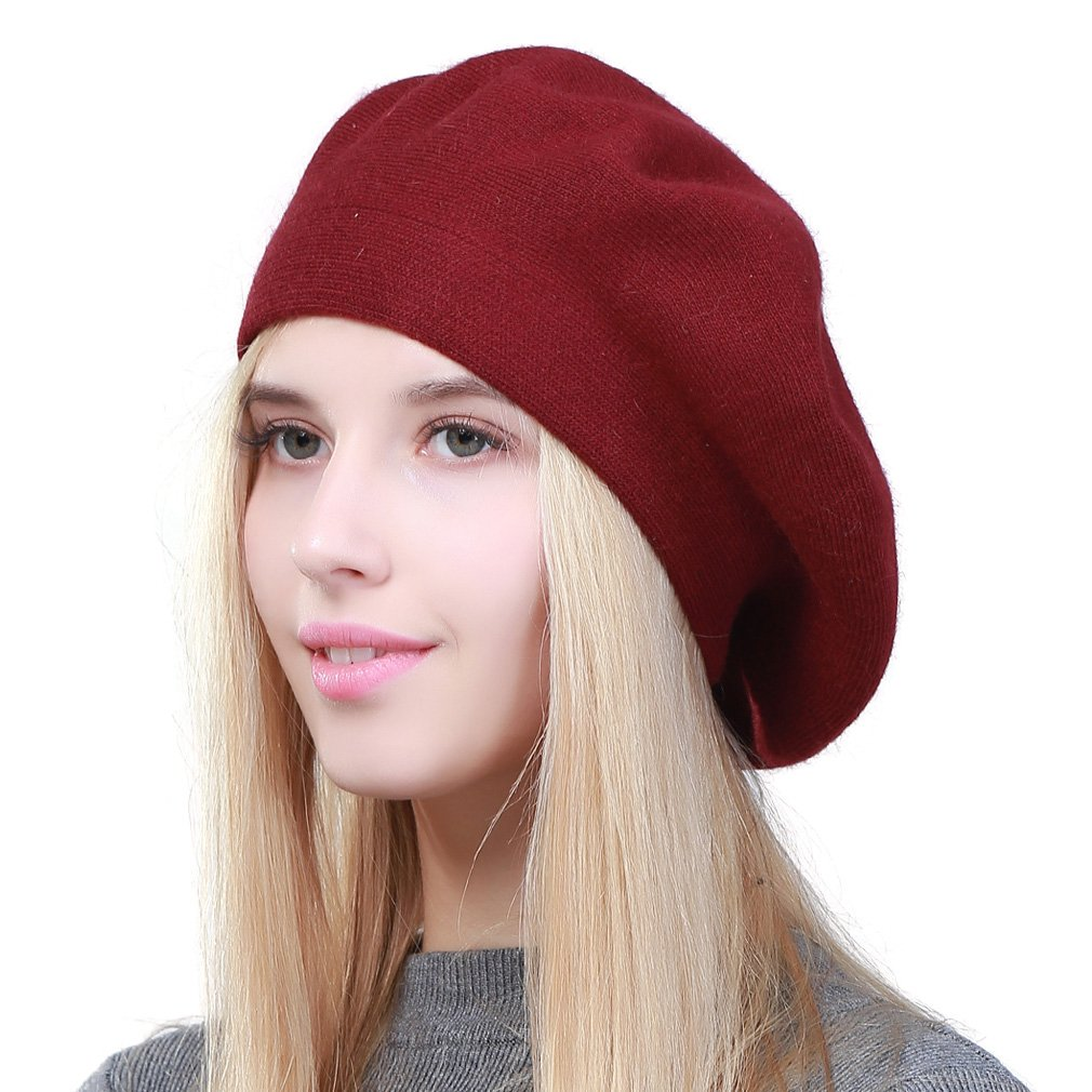 GEEBRO Hat Fashion Solid Color Warm Wool Spring Berets Women French Artist Beanie Beret Hat for Women DQ106 (WineRed)