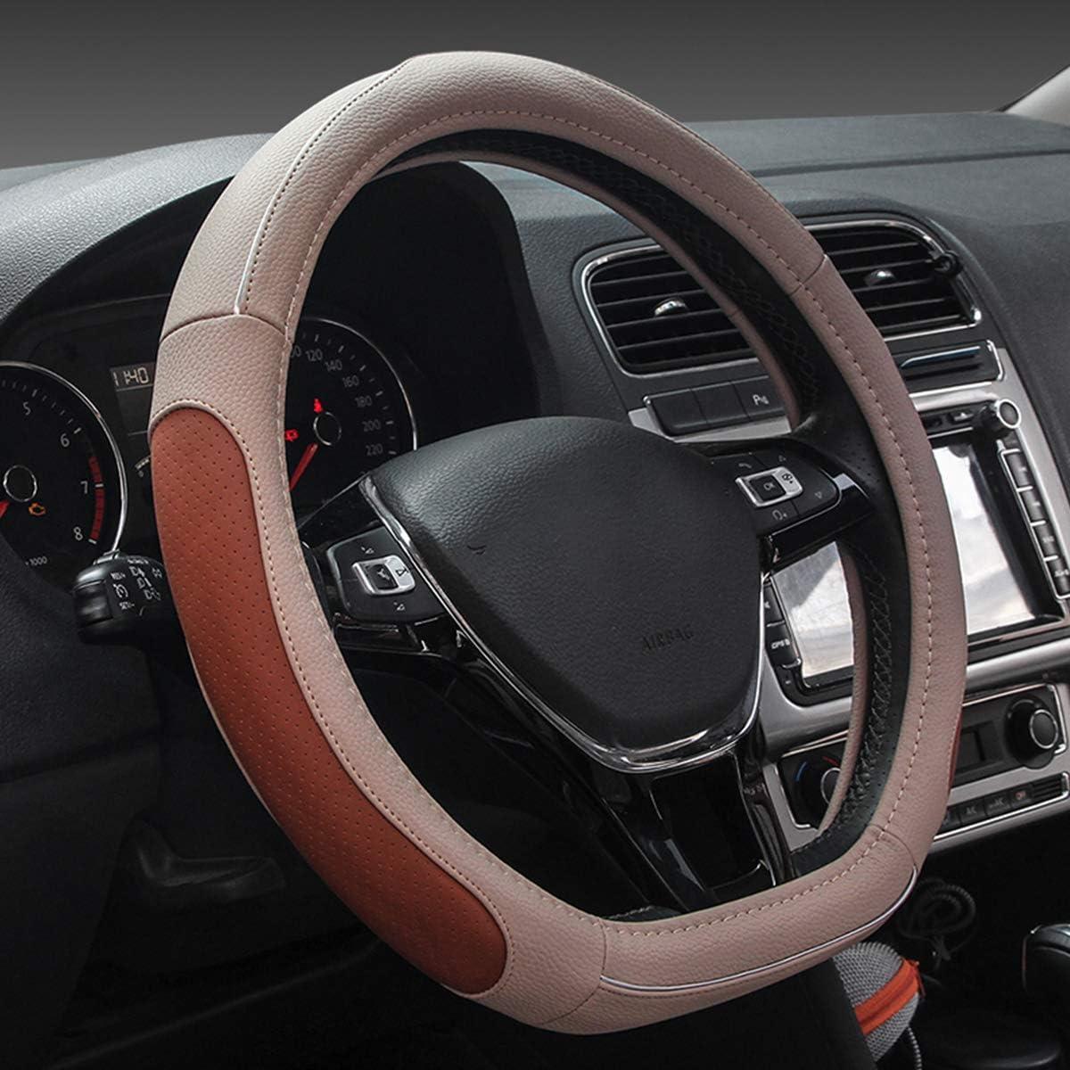 15 Ergocar Car Steering Wheel Cover Non-slip Car Steering Wheel Protector Sport D-shape Carbon Fiber /& PU Leather Universal For Diameter 38cm Black