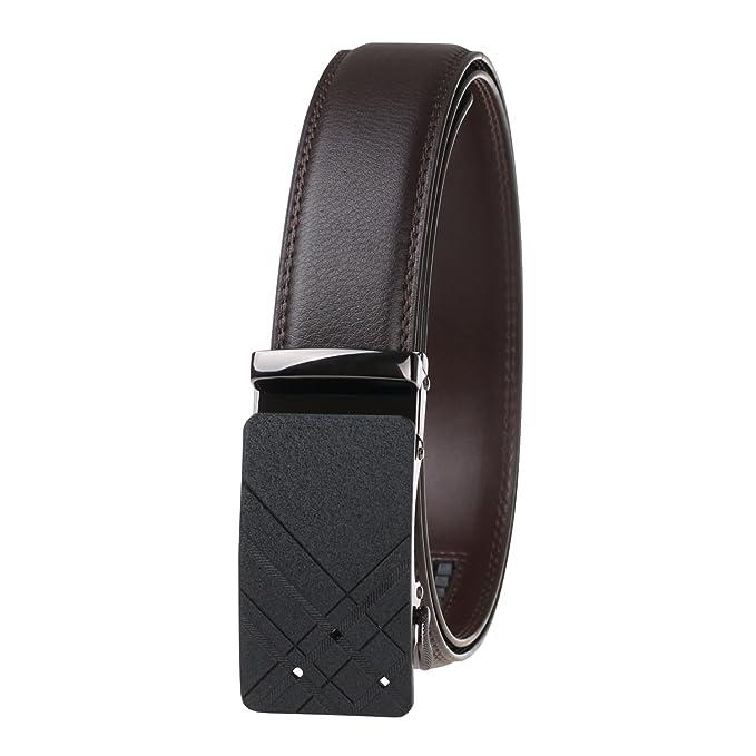 59b10d3cfe0 GangTu Cinturón Hombre Cuero Negro Cinturones Hebilla Automática Trinquete  Cinturón  Amazon.es  Ropa y accesorios