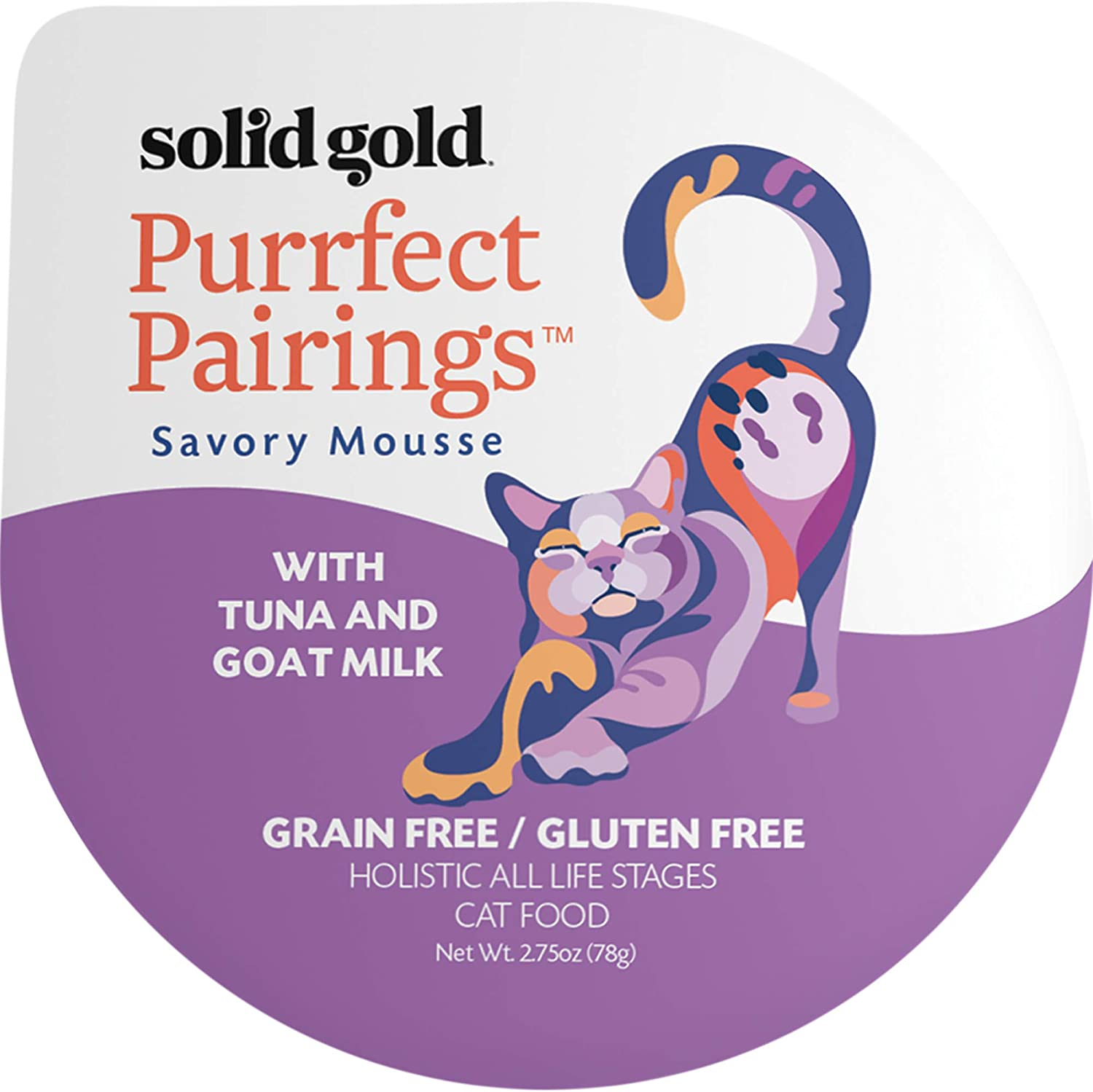 Solid Gold Goat Milk Mousse Pate Wet Cat Food; Purrfect Pairings with Poultry/Seafood (2.75 cup multipack)