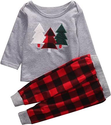 Baby Girl Boy Xmas Tree Print T Shirt Plaid Pants 2Pcs Baby Boy Girl Clothes