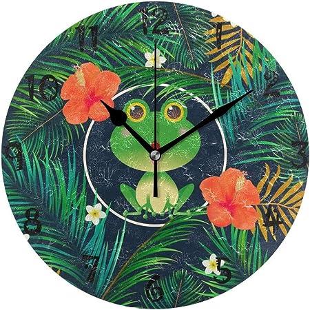 Reloj De Pared Arte Divertido Rana Flor Reloj De Pared Redondo Placa Circular Silencioso No Tictac Relojes para Cocina Hogar Oficina Escuela Decoración Niño Niños Niñas