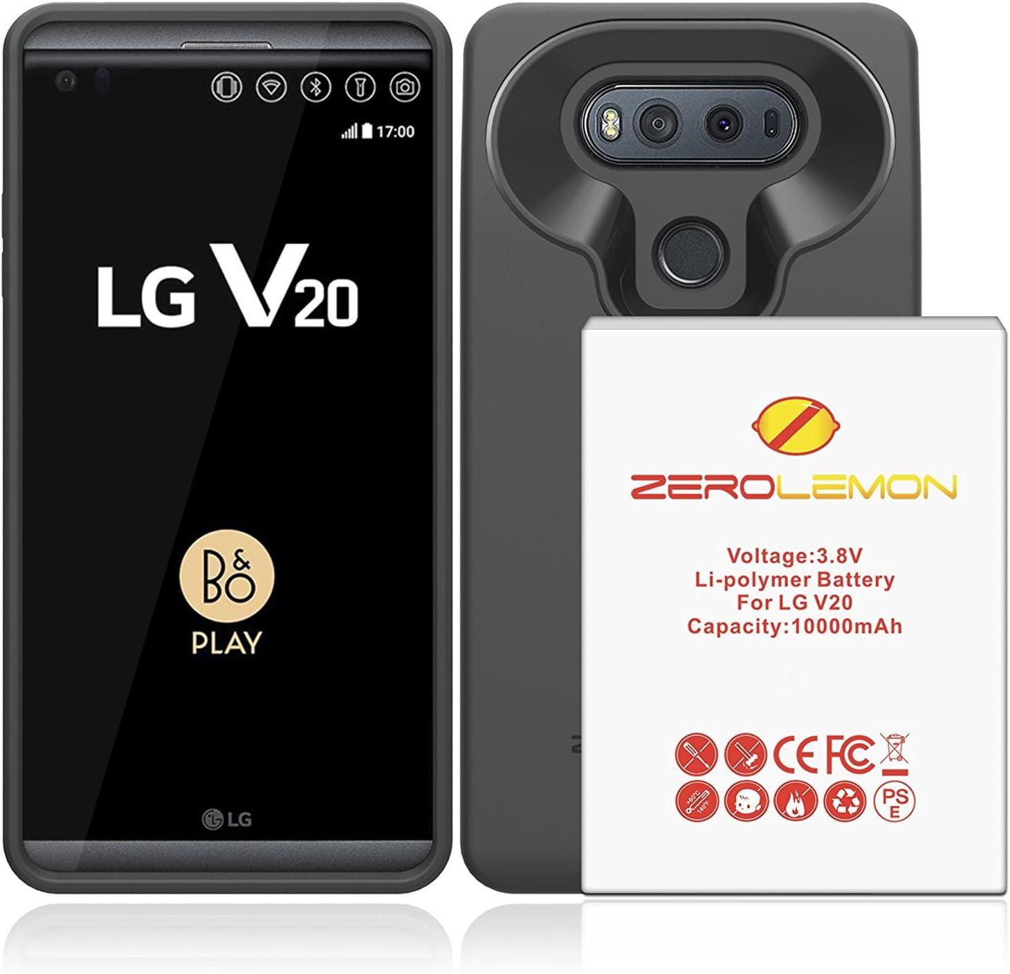 LG V20 Carcasa de batería, ZeroLemon LG V20 Tricell de 10000 mAh batería ampliada con Suave TPU Full Edge Funda de protección – Negro: Amazon.es: Electrónica