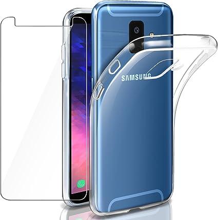Leathlux Samsung Galaxy A6 Funda + Cristal para Samsung Galaxy A6 ...