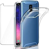 """Leathlux Coque Galaxy A6 2018 Transparente + Verre trempé écran protecteur, Souple Silicone Étui Protection Bumper Housse Clair Doux TPU Gel Case Cover pour Samsung Galaxy A6 (2018) 5.6"""""""
