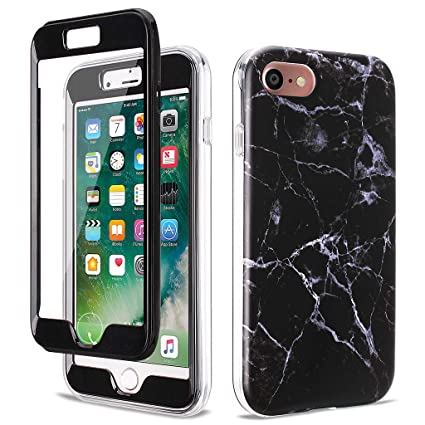 GOLINK Full Body Shockproof Protective Case with Built-in Screen Protector for 4.7 inch iPhone 7 and iPhone 8(Black Marble)