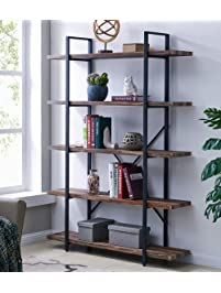 Elegant Homissue 5 Tier Bookcase, Vintage Industrial Wood And Metal Bookshelves For  Home And Office